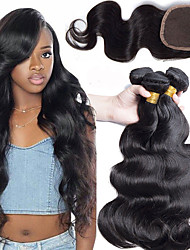 cheap -3 Bundles with Closure Peruvian Hair Wavy Human Hair Hair Weft with Closure 8-22 inch Human Hair Weaves 4x4 Closure Extention / Best Quality / Lace Closure Natural Color Human Hair Extensions Women's