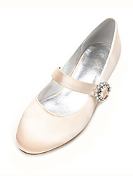 cheap -Women's Shoes Satin Spring & Summer Ballerina / Mary Jane Wedding Shoes Flat Heel Round Toe Rhinestone / Satin Flower / Sparkling Glitter Blue / Champagne / Ivory / Party & Evening