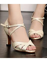 baratos -Mulheres Sapatos de Dança Latina Couro Ecológico Salto Salto Grosso Sapatos de Dança Bege
