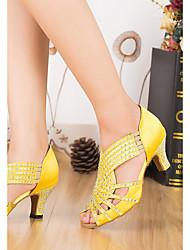 cheap -Women's Latin Shoes Satin Heel Thick Heel Dance Shoes Yellow / Blue