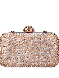 cheap -Women's Bags PU(Polyurethane) / Alloy Evening Bag Crystals / Hollow-out Black / Blushing Pink / Silver