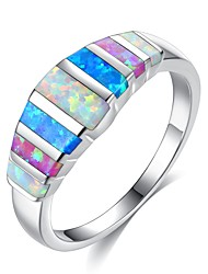 cheap -Women's Cubic Zirconia Stylish Stardust Band Ring Ring - Platinum Plated Romantic, Korean, Elegant 5 / 6 / 7 / 8 / 9 Rainbow For Gift Holiday