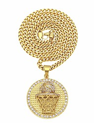 cheap -Men's AAA Cubic Zirconia Braided Pendant Necklace / Necklace - Stainless Steel, Gold Plated Stylish, Trendy, Hip-Hop Gold 70 cm Necklace 1pc For Street, Club