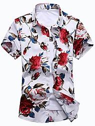 Недорогие -Муж. С принтом Рубашка Классический Цветочный принт Кран
