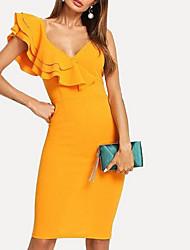 abordables -Mujer Vaina Vestido Un Color Sobre la rodilla