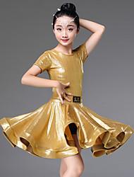 Недорогие -Латино Платья Девочки Выступление Спандекс Рюши / сборки С короткими рукавами Платье
