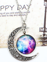 cheap -Women's Pendant Necklace - Moon, Galaxy Unique Design, European, Fashion White / Blue, Silver-Blue, Purple / Blue Necklace For Wedding, Party, Special Occasion
