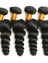 billige -4 pakker Peruviansk hår Løst, bølget hår Menneskehår Gaver / Hovedstykke / Udvidelse 8-28 inch Menneskehår Vævninger Maskinproduceret Silkeagtig / Klassisk / Bedste kvalitet Sort Naturlig Farve