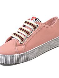 preiswerte -Damen Schuhe Leinwand Sommer Komfort Sneakers Niedriger Heel Runde Zehe Weiß / Rosa