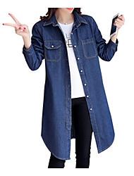 cheap -Women's Shirt - Solid Colored Denim