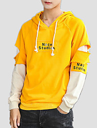 cheap -Men's Hoodie - Solid Colored / Color Block / Letter, Ripped / Print