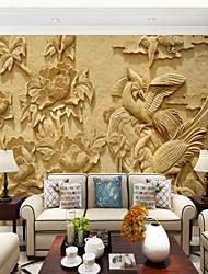 Недорогие -Большие настенные обои пион фазан фигура подходит для гостиной спальни телевизор фоне стены покрытия 448 × 280 см