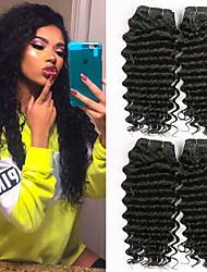 cheap -4 Bundles Indian Hair Curly Human Hair Natural Color Hair Weaves / Extension / Human Hair Extensions 8-28 inch Human Hair Weaves Machine Made Classic / Extention / Woven Black Natural Color Human