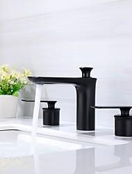abordables -Robinet lavabo - Séparé / Design nouveau Peintures Montage Deux poignées trois trous