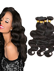 cheap -Indian Hair Body Wave Gifts / Natural Color Hair Weaves / Tea Party Favors 4 Bundles 8-28 inch Human Hair Weaves Cosplay / Soft / Thick Natural Black Human Hair Extensions Women's