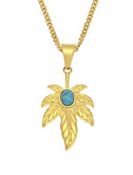 cheap -Men's Turquoise Cuban Link / Maple leaf Pendant Necklace / Chain Necklace - Stainless Leaf Stylish, European, Hip-Hop Gold 60 cm Necklace 1pc For Daily, Street