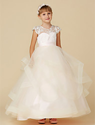 cheap -Ball Gown Floor Length Flower Girl Dress - Lace / Tulle Short Sleeve Illusion Neck with Buttons / Sash / Ribbon by LAN TING BRIDE®