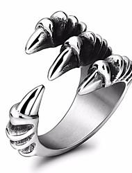 Недорогие -Муж. Заявление Хвост обернуть кольцо 1шт Серебряный Титановая сталь Круглый Геометрической формы Массивный Стиль Маскарад фестиваль Бижутерия Стильные Дракон Cool