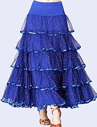 abordables -Danse de Salon Bas Femme Utilisation Tulle / Fibre de Lait Ruché / Paillette Taille moyenne Jupes