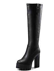 Недорогие -Жен. Обувь Микроволокно Наступила зима Модная обувь Ботинки На толстом каблуке Круглый носок Сапоги до колена Черный / Серый