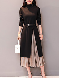 cheap -Women's Vintage Flare Sleeve Set - Solid Colored, Pleated Dress