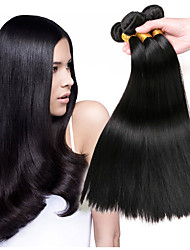 baratos -3 pacotes Cabelo Peruviano Liso Cabelo Humano Peça para Cabeça / Acessório para Fantasia / Extensor 8-28 polegada Tramas de cabelo humano Fabrico à Máquina Sedoso / extensão / Melhor qualidade