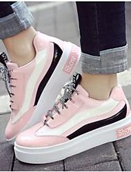 economico -Per donna Scarpe Vernice Primavera estate Comoda Sneakers Piatto Bianco / Nero / Rosa