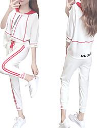 abordables -Femme Capuche Survêtement - Noir / Blanc, Blanc + rouge. Des sports Lettre Taille Haute Sweat à capuche / Pantalon / Surpantalon Yoga, Danse, Fitness Demi Manches Tenues de Sport Respirable Elastique
