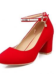 Недорогие -Жен. Обувь Искусственная кожа Весна & осень Туфли лодочки Обувь на каблуках На толстом каблуке Круглый носок Черный / Красный