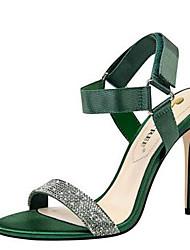abordables -Femme Chaussures Satin / Polyuréthane Printemps été Escarpin Basique Sandales Talon Aiguille Bout ouvert Strass Gris / Rouge / Vert / Soirée & Evénement