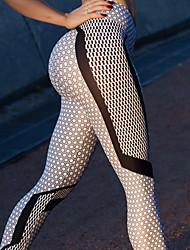 baratos -Mulheres Calças de Yoga - Preto / Branco Esportes Elastano Meia-calça / Leggings Corrida, Fitness Roupas Esportivas Macio, Respirabilidade, Confortável Com Stretch