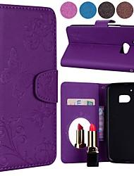 abordables -Coque Pour HTC M9 / M8 Porte Carte / Clapet / Motif Coque Intégrale Couleur Pleine / Papillon Dur faux cuir pour HTC M8 / HTC M9 / HTC 10