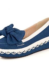 abordables -Femme Chaussures Toile de jean Eté Confort Mocassins et Chaussons+D6148 Creepers Bout rond Noeud Bleu de minuit / Bleu clair
