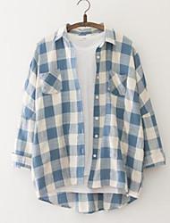 cheap -Women's Cotton Shirt - Plaid Print Shirt Collar