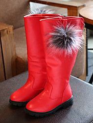 cheap -Girls' Shoes PU(Polyurethane) Fall & Winter Comfort / Fashion Boots Boots Walking Shoes Feather for Kids Black / Red / Burgundy / Mid-Calf Boots