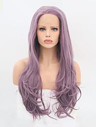 Недорогие -Синтетические кружевные передние парики Волнистый Боковая часть 150% Человека Плотность волос Искусственные волосы Жаропрочная Фиолетовый Парик Жен. Длинные Лента спереди / Да
