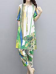 abordables -Mujer Vintage / Chic de Calle Conjunto - Floral / Geométrico, Estampado Pantalón