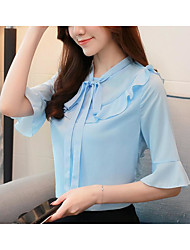 cheap -Women's Vintage / Basic Blouse - Solid Colored Ruffle