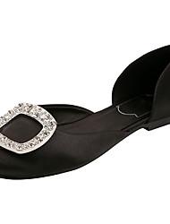 baratos -Mulheres Sapatos Cetim Verão Conforto Sandálias Salto de bloco Dedo Fechado Pedrarias Preto / Prateado / Rosa Claro