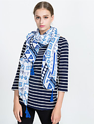 cheap -Women's Vintage / Basic Rectangle - Geometric Blue & White, Tassel