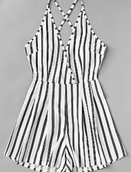cheap -Women's Going out Cotton Romper - Striped Wide Leg Strap / Summer