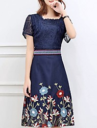 cheap -Women's Elegant Petal Sleeves Sheath Dress - Floral / Tribal Daisy, Lace