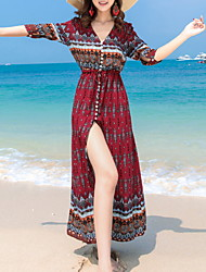 baratos -Mulheres Praia Delgado balanço Vestido Decote V Cintura Alta Médio / Verão