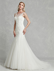 cheap -Sheath / Column Boat Neck Court Train Lace / Tulle Made-To-Measure Wedding Dresses with Beading / Appliques by LAN TING BRIDE®