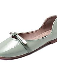 Недорогие -Жен. Обувь Лакированная кожа / Полиуретан Лето Удобная обувь На плокой подошве На плоской подошве Квадратный носок Бант Бежевый / Зеленый / Миндальный