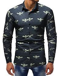Недорогие -Муж. С принтом Рубашка Классический Контрастных цветов / Животное