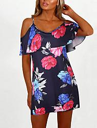 abordables -Mujer Noche Recto Vestido Sobre la rodilla Escote Barco / Volante / Patrones florales