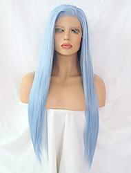 Недорогие -Синтетические кружевные передние парики Жен. Прямой Синий Боковая часть Искусственные волосы Типы Синий Парик Длинные Лента спереди Светло-синий / Да