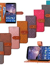 Недорогие -Кейс для Назначение Nokia Nokia 7 Plus / Nokia 6 2018 Кошелек / Бумажник для карт / со стендом Чехол Плитка Твердый Кожа PU для Nokia 7 Plus / Nokia 6 2018