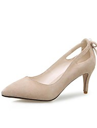 cheap -Women's Shoes Suede Spring & Summer Comfort Heels Stiletto Heel Pointed Toe Imitation Pearl Black / Pink / Almond